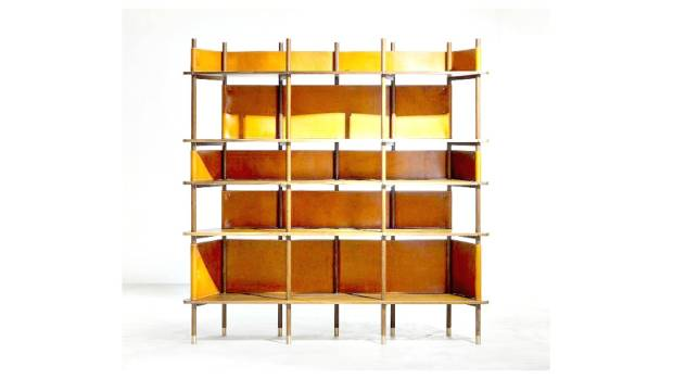 Based on traditional textile looms, the 'Weave' display shelf is made of leather and rosewood.