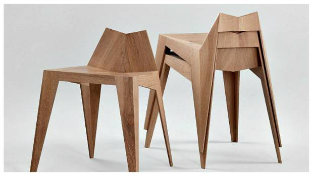 German designer Matthias Scherzinger made these 'Stocker' chairs from solid oak.