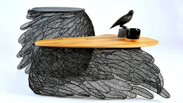 The bases of the 'Feather' coffee table and side table are made from individual feahers, handmade by designer Apiwat ...