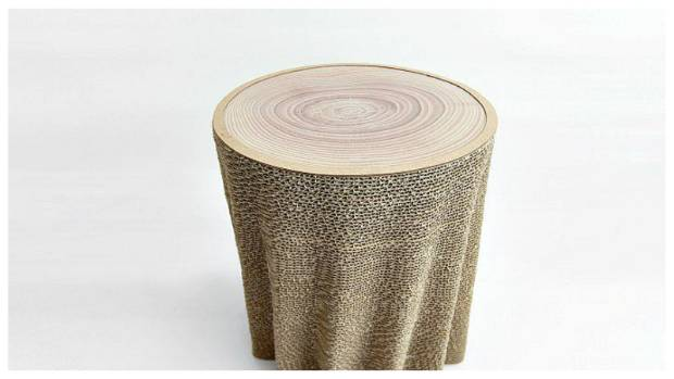 Ninety sheets of cardboard, a high-tech cutting process and hand-gluing all result in the 'Morph' side table.