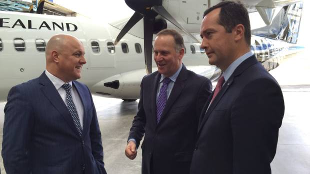 Air New Zealand chief executive Christopher Luxon (left), former prime minister John Key, and ATR chief executive ...