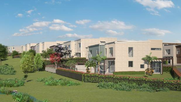 An artist's impression of a new 197-dwelling housing development set to be built in Massey East, west Auckland.