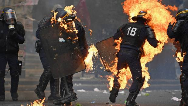 Paris Police Fire Tear Gas At Protesters During May Day