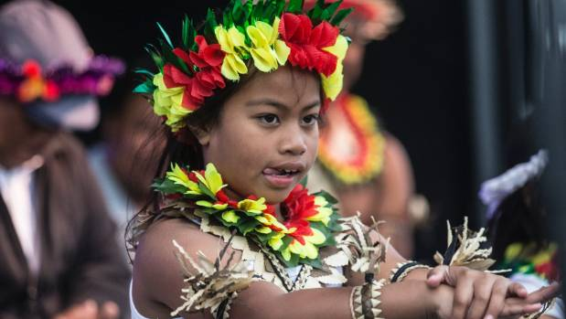 Iemina Terawasi, 7, of the St Josephs Kiribati Catholic Community Group at the 2017 festival of the Elements.