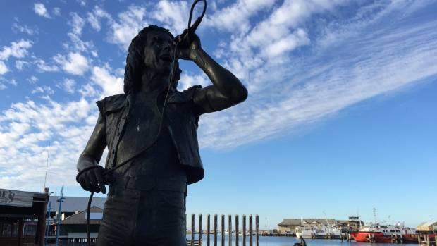 AC/DC frontman Bon Scott's statue at the Fremantle fishing harbour.