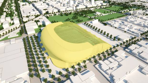 An artist's impression of a generic covered sports stadium as proposed as an anchor project in the Christchurch rebuild.