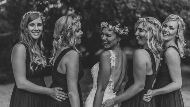 Katies and her four bridesmaids.