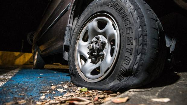 Cars parked on South Rd, Crownhill St and Ngāmotu Rd were found to have slashed tyres Thursday morning.