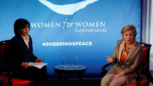 Image result for Images of Hillary Clinton at Women for Women International with Christiane Amanpour
