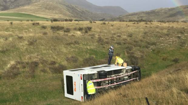 Police have issued a warning to avoid the Burkes Pass area after strong winds blew a campervan off the road.