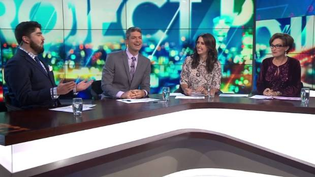 Nadine Higgins made her return to television on Three's The Project. Pictured with Rhys Mathewson, Jesse Mulligan, and ...