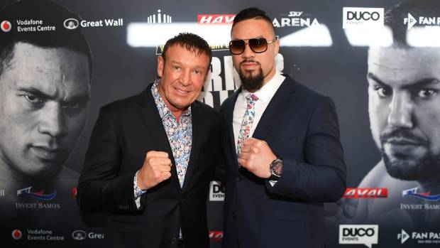 Trainer Kevin Barry, left, and New Zealand heavyweight boxer Joseph Parker at a press conference in Auckland on Wednesday.
