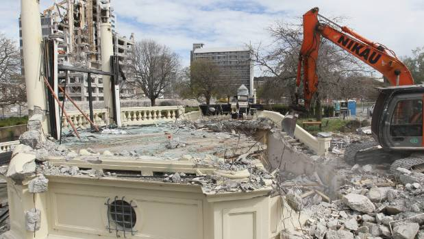 Demolition of the rotunda in 2012.