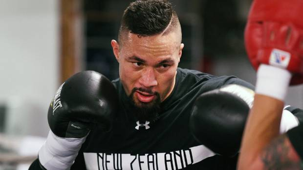 New Zealand heavyweight boxer Joseph Parker during a training session ahead of his first defence of his WBO world ...