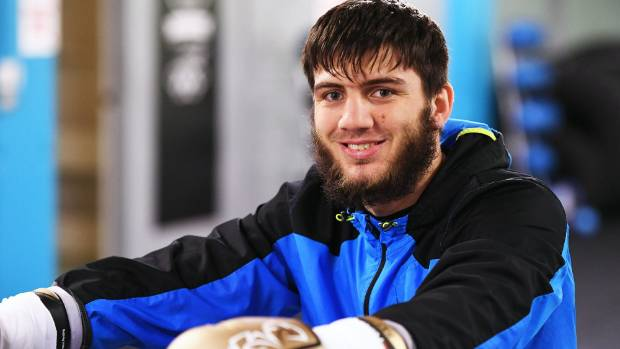 Russian light-heavyweight boxer Umar Salamov takes a break from training in Auckland.