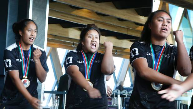 The victorious St Mary's College sevens team perform a haka to thank well-wishers at Wellington Airport on Thursday.