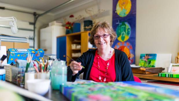 Ceri Chisholm in her art studio, which will be open during the Taranaki Arts Trail on June 10 and 11.