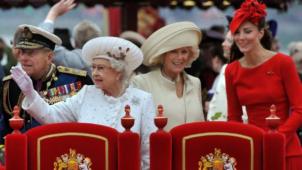 Camilla alongside the Queen, Prince Philip and Kate Middleton during the Diamond Jubilee River Pageant.