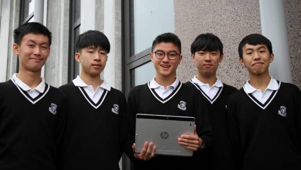 Avondale College's esports team from left, Steven Tan, Tovey Lai, Sean Yu (C), Alan Qiu and Rula Zhao.