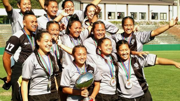 Wellington's St Mary's College sevens team celebrate winning in Japan.
