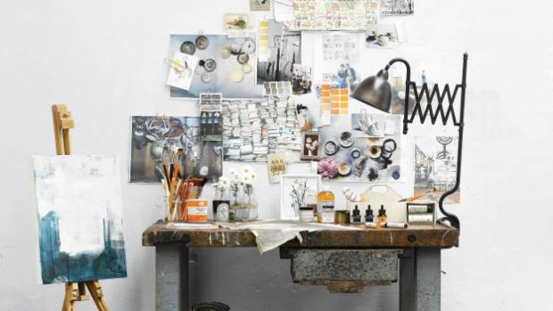 This creative work space has become a display piece in itself.