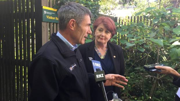 Primary Industries Minister Nathan Guy and Conservation Minister Maggie Barry address the media about the response to ...