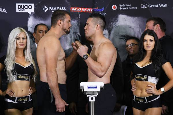 New Zealand heavyweight boxer Joseph Parker faces off against Romania's Razvan Cojanu at the official weigh in.