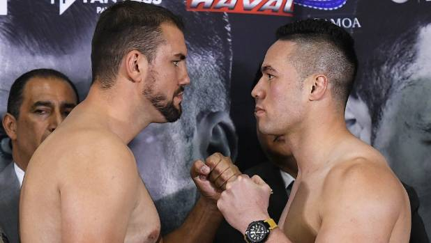 Joseph Parker faces off against Romania's Razvan Cojanu.