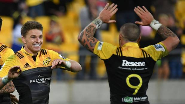 Beauden Barrett and  TJ Perenara celebrate a try against the Stormers.