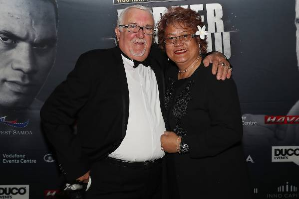 Joseph Parker's mum Sala Parker and Sir Peter Leitch (left) before the fight.