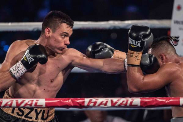 Tim Tszyu lands a left jab.