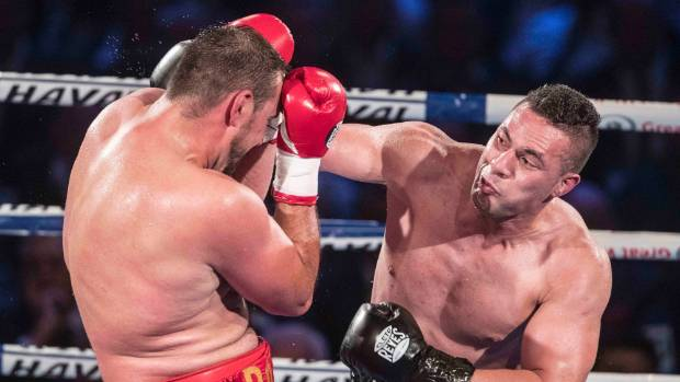 Joseph Parker throws a full-blooded right hand.
