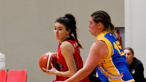 Wildcats player Esra McGoldrick in Auckland for the opening round of the Women's Basketball League.
