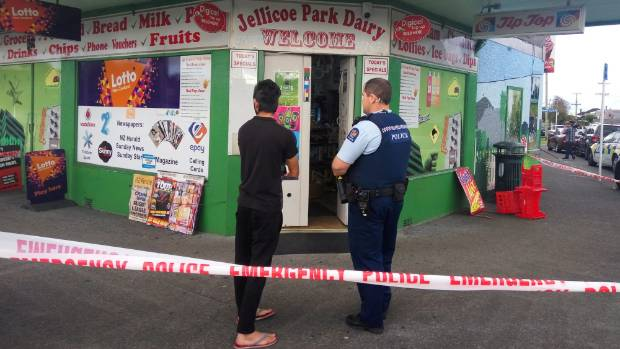 Robbers attacked the owner of Jellicoe Park Dairy with a screwdriver.