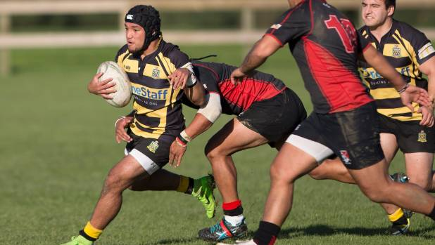 Feilding halfback Jalen Rahui escapes a tackle as his side clings on to a 21-17 win over Linton.