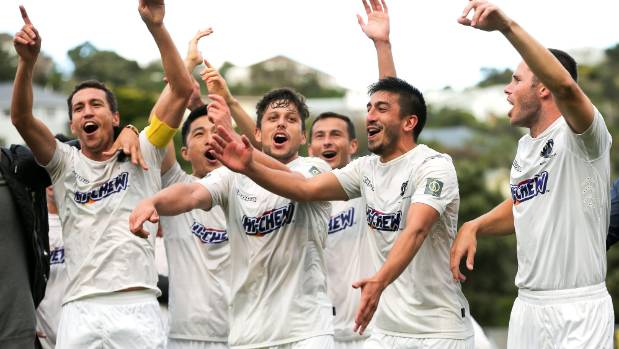 Auckland City celebrate winning the OFC Champions League final.