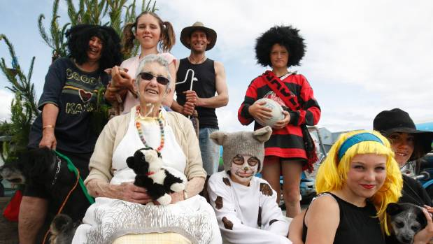 Characters from the Iconic Kiwi movie Footrot Flats made a surprise appearance at the Takaka Santa Parade in 2014.