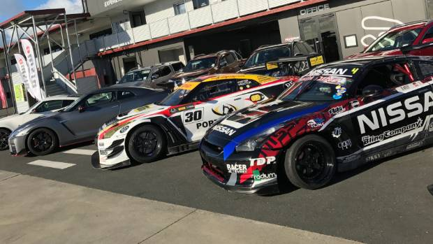 All in the Nismo family: from right to left, Darren Kelly drift R35, GT3 racer and the roadgoing GT-R.