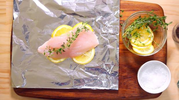 Steamed fish with lemon & thyme.