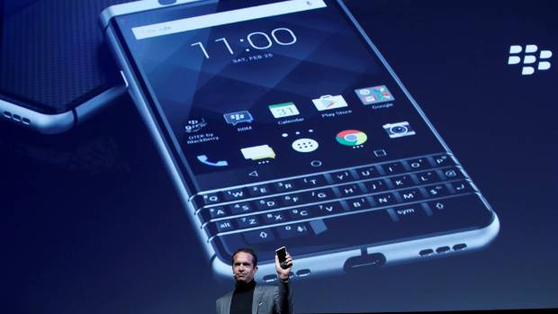 TCL Communcation's chief executive Nicolas Zibell presents the new BlackBerry Key One.