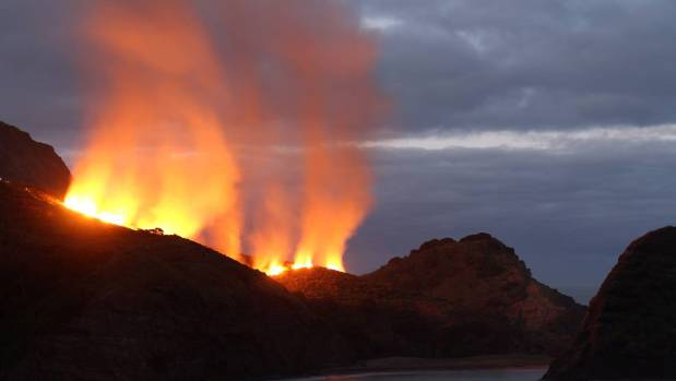 One of the suspicious fires which was lit at Piha beach earlier this month.