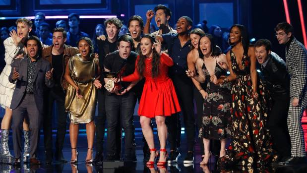 The cast of 13 Reasons Why, a controversial Netflix film about suicide, presented the award for Best Show.