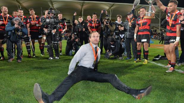 Former Canterbury coach Scott Robertson celebrates winning last year's Mitre 10 Cup by breakdancing at AMI Stadium.