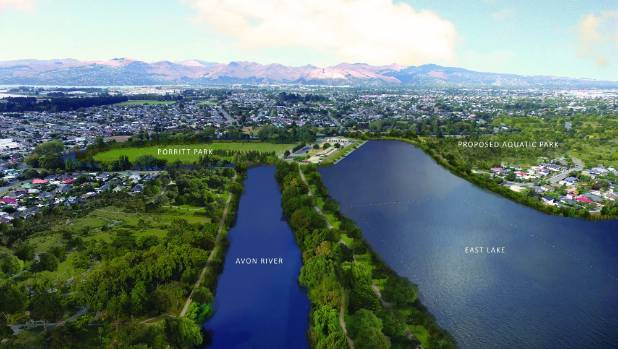 A concept image of the proposed East Lake Trust open water facility for the Christchurch red zone.