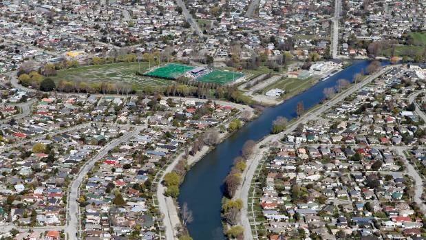 An aerial view of Kerrs Reach and Porritt Park following the Christchurch earthquakes.