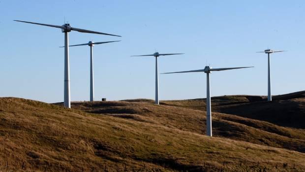 Te Rere Hau wind farm with its distinctive two-bladed turbines.