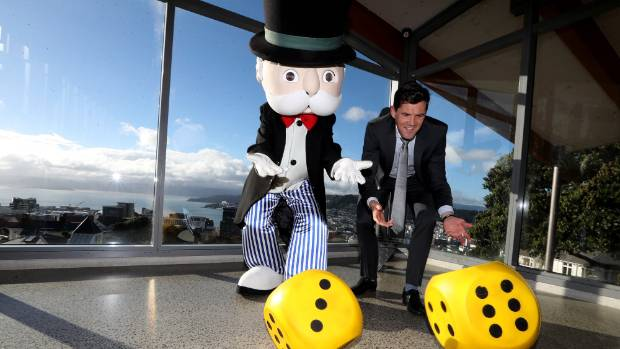 Mr Monopoly, left, and Wellington mayor Justin Lester celebrate the announcement of a Wellington edition of Monopoly.