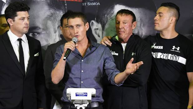 Duco Events' David Higgins fronts the weigh-in for Joseph Parker's fight against Razvan Cojanu last weekend.