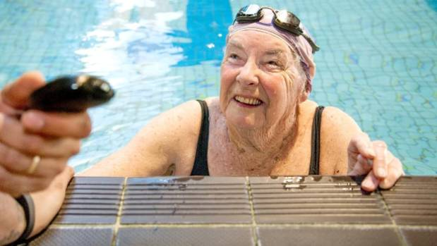 Levin woman Heather Robinson swims 88 lengths to celebrate her birthday.