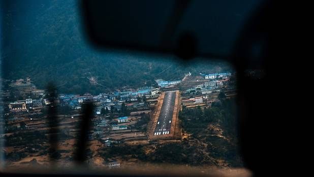 Flying into Lukla Aiport, the renowned and dangerous airport.